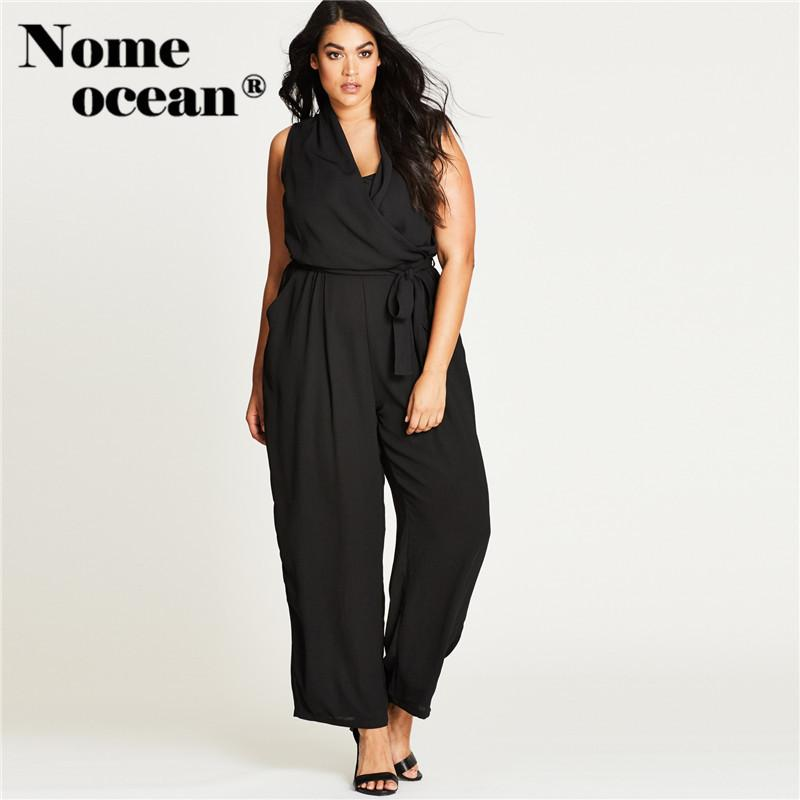 6cbef1942b 2019 Elegant Oversized Jumpsuits Wrapped V Neck Crossed Women Pants  Trousers 2018 Summer Sleeveless Long OL Jumpsuits Black M17041434 From  Carawayo