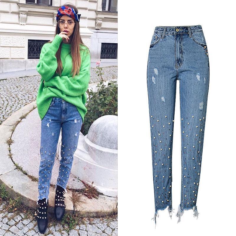 71aa5c05c2 2019 Hole Women S Denim Blue Jeans Women Fashion Tassel Embroidered Flares  Design Vintage High Waist Straight Denim Pants Female From Honey333