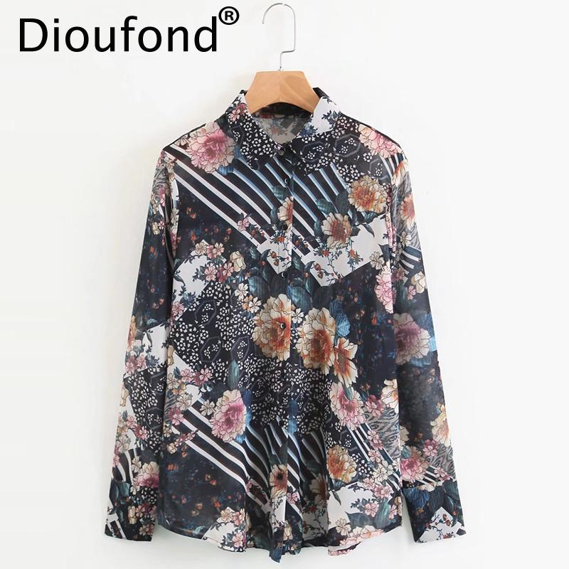 e66635aa65e 2019 Dioufond Women Vintage Floral Chiffon Blouses Long Sleeve Turn Down  Collar Shirt Ladies European Style Office Wear Chic Top 2018 From Vikey08
