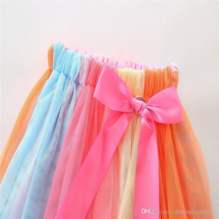 Camiseta de la torta del cumpleaños de los bebés de Ins + falda del arco iris algodón de manga larga de manga corta 2 diseños Trajes para la fiesta de cumpleaños