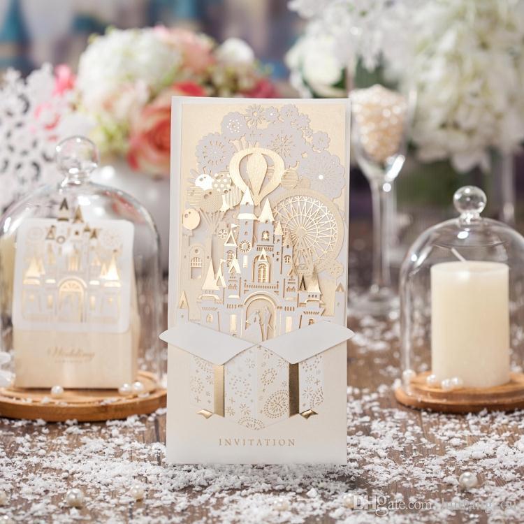 Vintage Castle Laser Cut Hollow Out Wed Invito Festa Inviti di nozze Giorno Sera Invite Card stampa di lusso in stile cinese