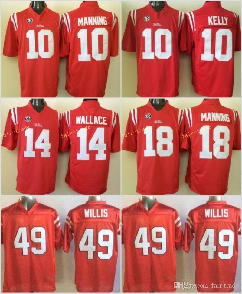 new product 47b54 54088 NCAA Ole Miss Rebels Football 10 Eli Manning Jersey SEC College 10 Chad  Kelly 14 Bo Wallace 18 Achie Manning 49 Patrick Willis Stitched Red