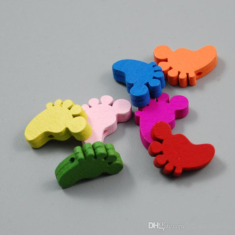 100pcs Mixed Colors FEET Shape Wood Beads Lot Craft/Kids Jewelry Making for bracelet 15x20MM