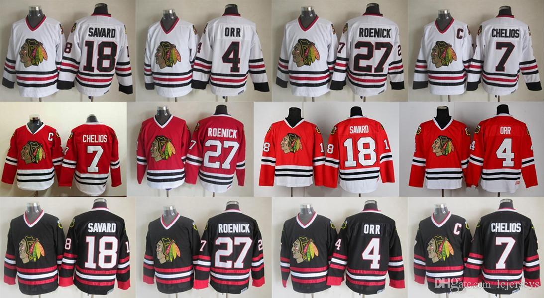 ... cheap vintage chicago blackhawks hockey jerseys 4 orr 7 chris chelios  27 jeremy roenick 18 denis 833e35c1e