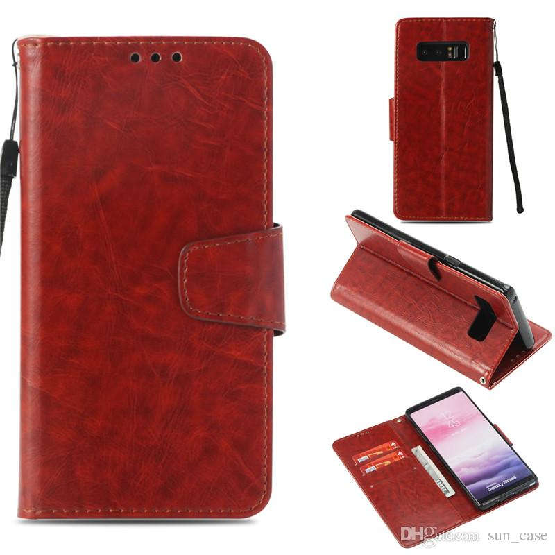 Skin For Samsung Galaxy S3 i9300 S4 I9500 S5 I9600 S6 S7edge S8plus J2 PRO 2018 Case PU Leather Stand Wallet Rope Credit Card Slots Cover