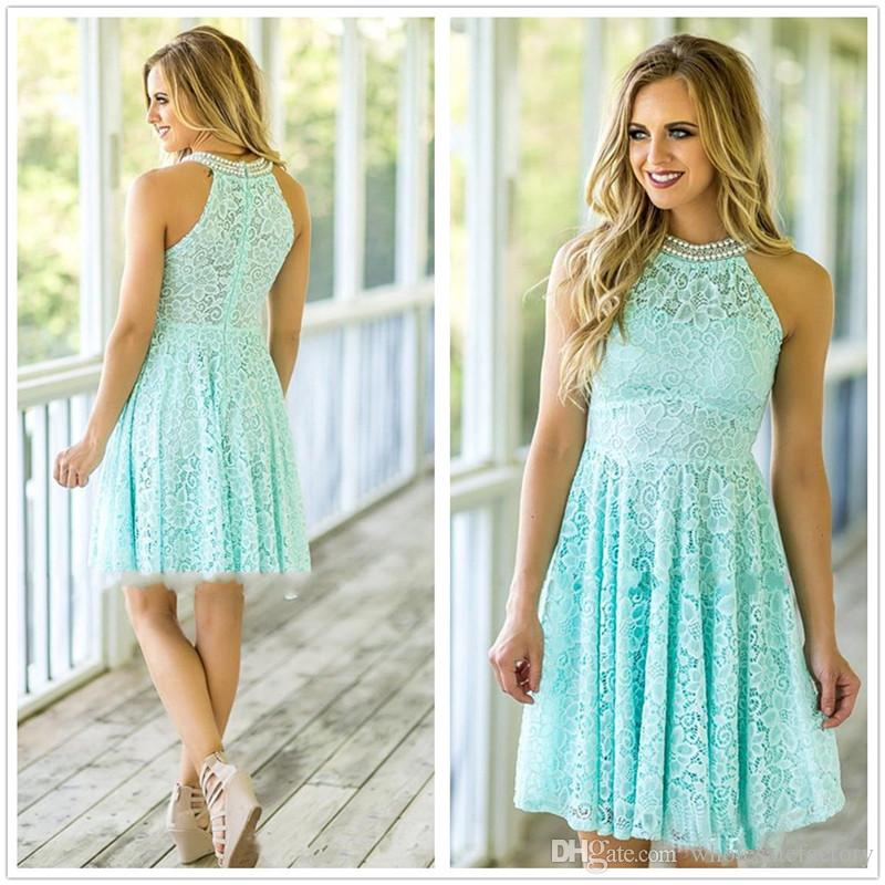 db5491d08b9 2018 Mint Green Halter Lace Short Country Bridesmaid Dresses Beaded Short  Knee Length Wedding Guest Party Bridesmaids Of Honor Dresses Dark Red  Bridesmaid ...