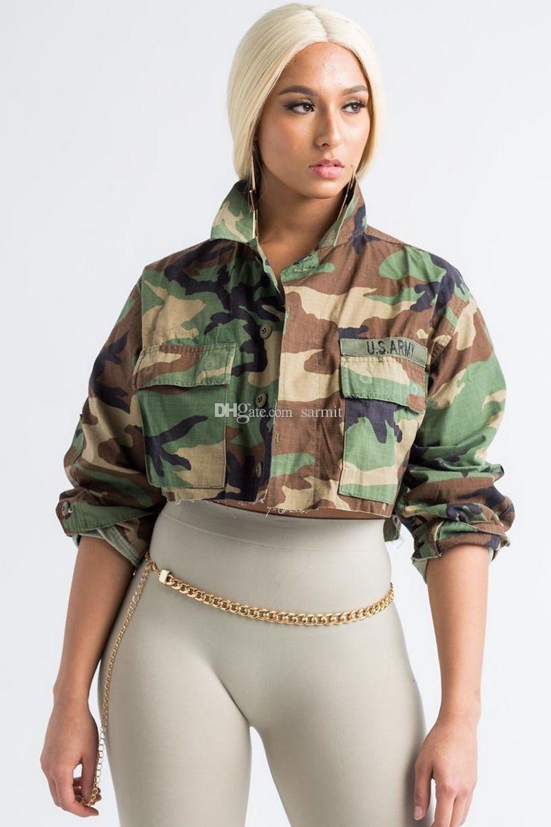 2018 военная куртка женская мода дешевые камуфляж куртка женщин F513 ветровка весна лето короткий стиль Cassual пальто