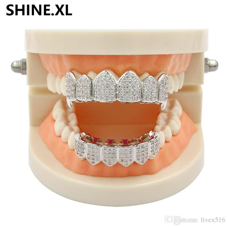 VampireNew Design الهيب هوب الأسنان جريلز مطلية بالذهب iCED OUT الزركون الناب الأسنان كاب الأعلى أسفل مشاوي مجموعة مصاص
