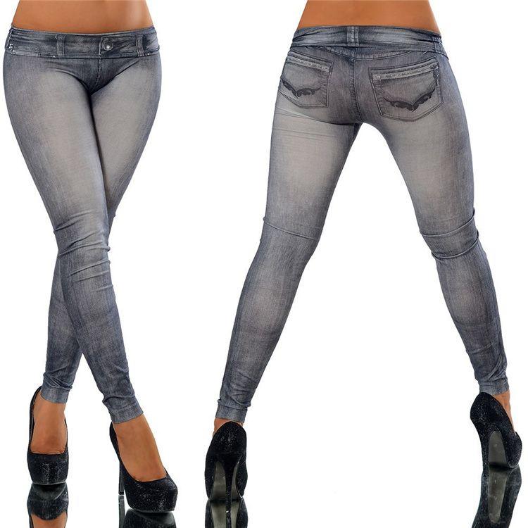 2018 Fitness Mujeres Jeggings sin costuras Vaquero con bolsillo Cremallera Imprimir Jeans Print Punk Pants Leggings YWOM8158