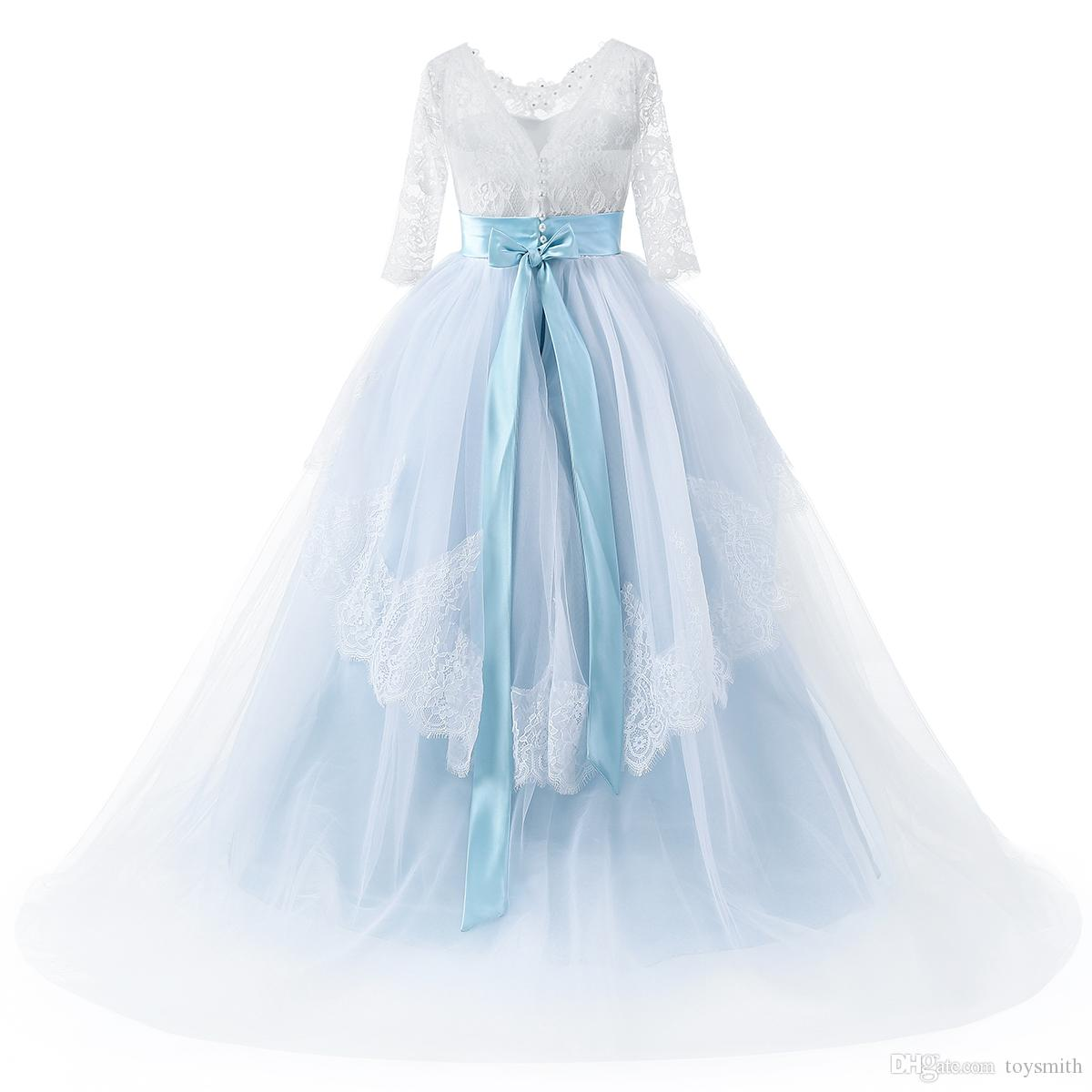 2018 New Fashion Tulle Jewel Lace Applique Half Sleeve Beaded Bow Flower Girl Dresses Sash Children's Pageant Dress