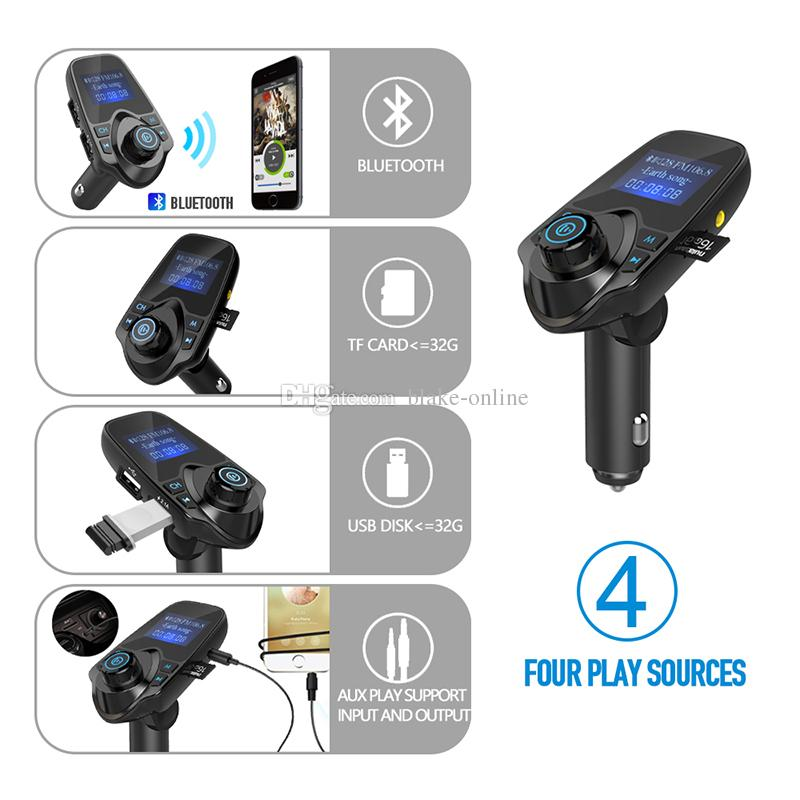 Bluetooth Car Kit FM Audio Transmitter Radio Adapter USB Car Charger Supports TF/Micro SD Card With Package
