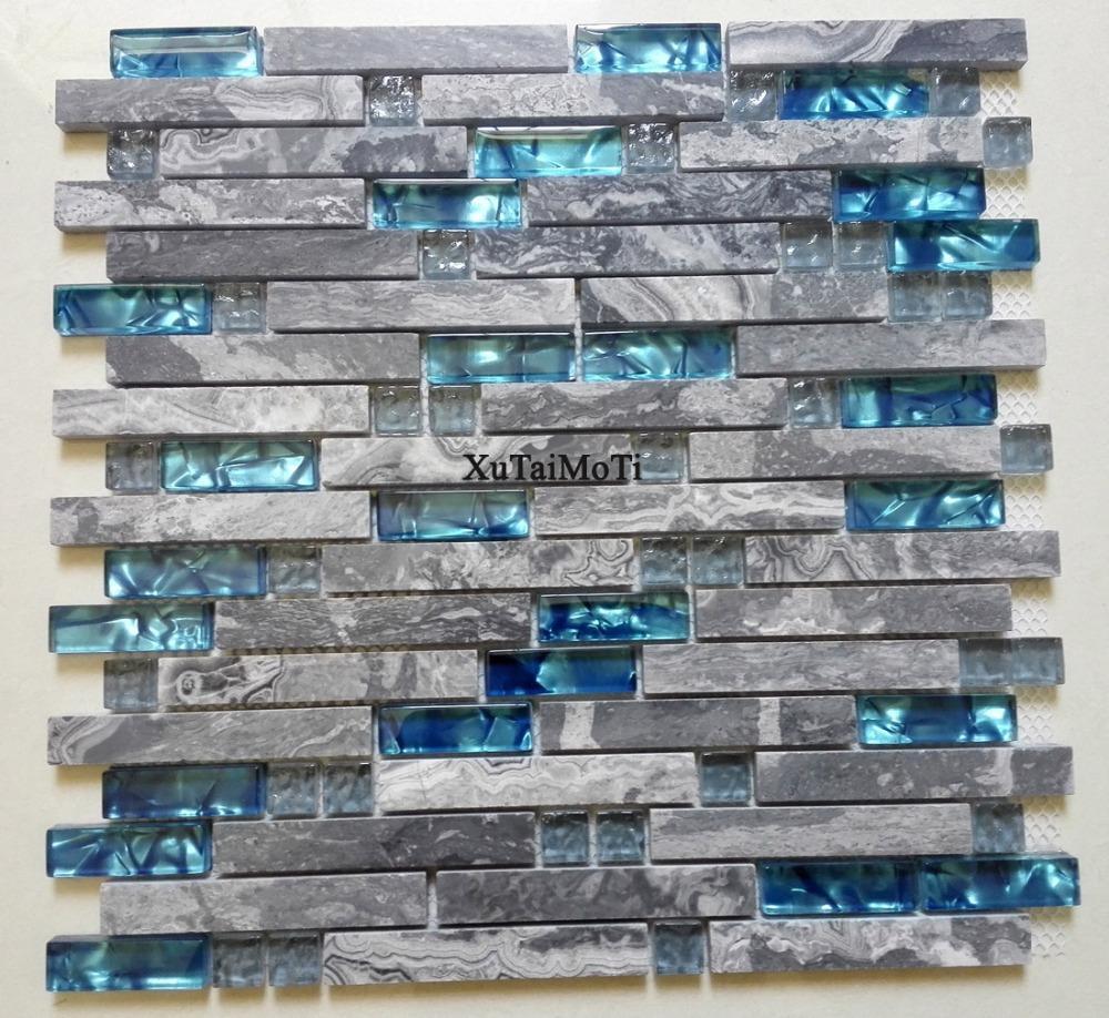 Grosshandel Graue Marmor Mosaik Blau Glas Fliesen Kuche Backsplash
