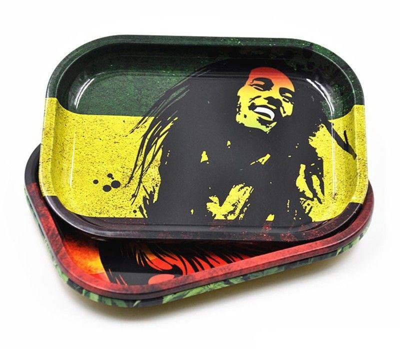 Vassoio portacoltelli in metallo tabacco 17cm * 13cm * 1.8cm Frantumatore Bob Marely Dollar Case Macchine Utensili Tabacco fumatori
