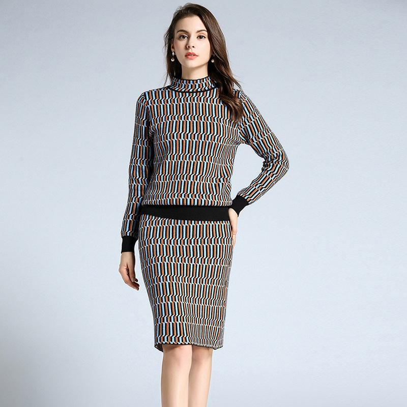 2019 Ol Formal Suit Dresses Women Turtleneck Long Sleeve Knitting