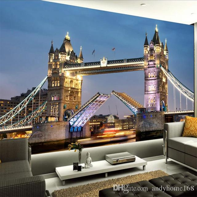 Custom Any Size Mural Wallpaper 3D European Style Tower Bridge Bedroom Living Room TV Background Photo Wallpaper Papel De Parede