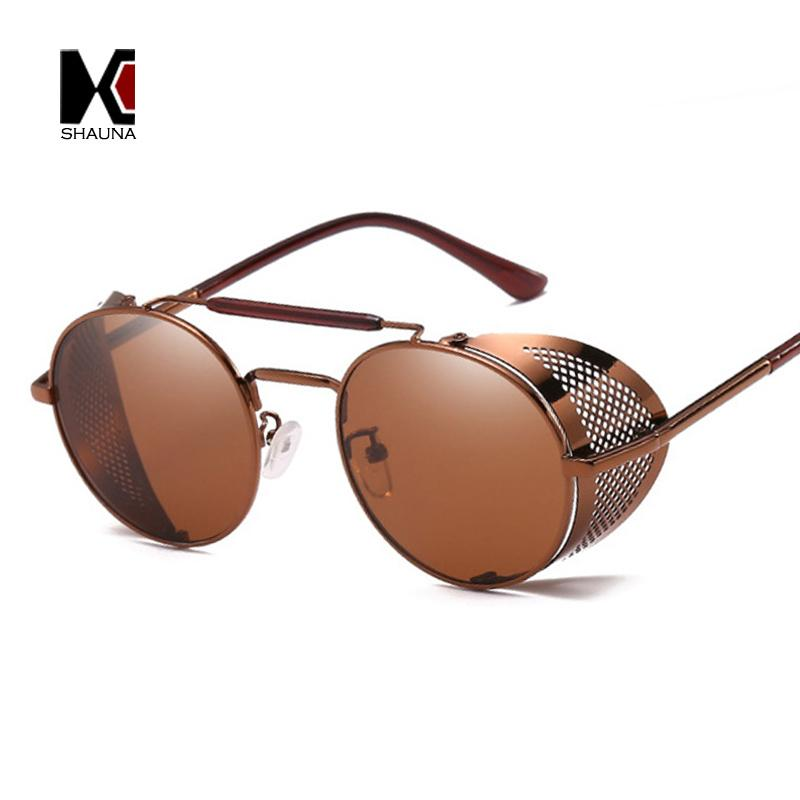 602470b489634 SHAUNA Vintage Women Reversible Steampunk Sunglasses Brand New Designer  Classic Men Round Punk Goggle Glasses UV400 Online Eyeglasses Discount  Sunglasses ...