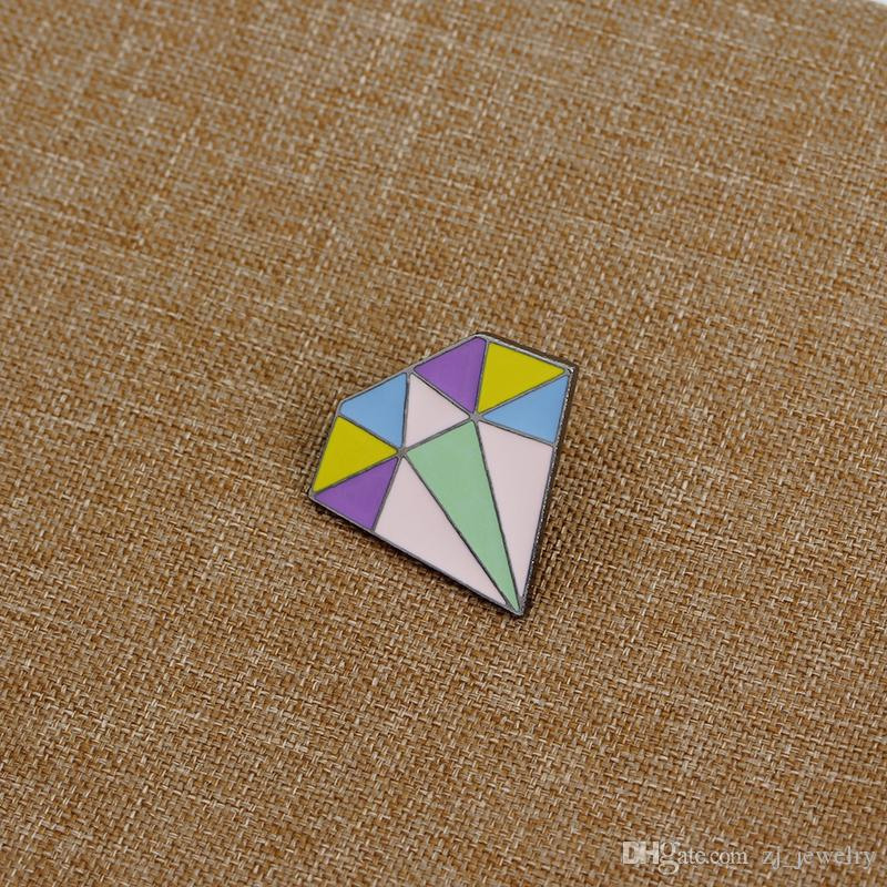 Diamond Shaped Enamel Pins Badge Colorful Cute Brooch Denim Jacket Jewelry Gifts Brooches for Women Men Collar Lapel Accessories
