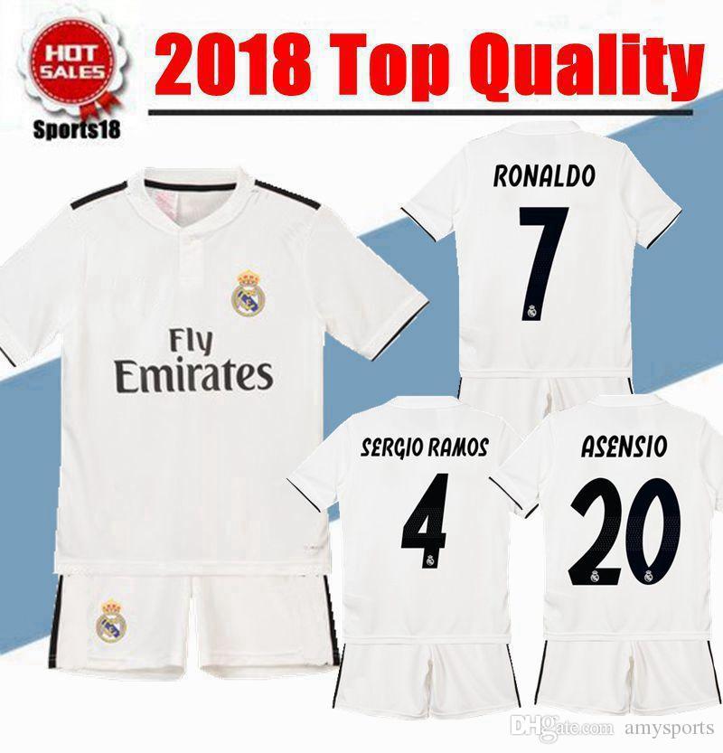681e9854c 2019 2018 2019 Kids Kit Real Madrid Soccer Jerseys Custom Youth Boy Modric  RONALDO BALE RAMOS ISCO MODRIC Football Shirt From Amysports