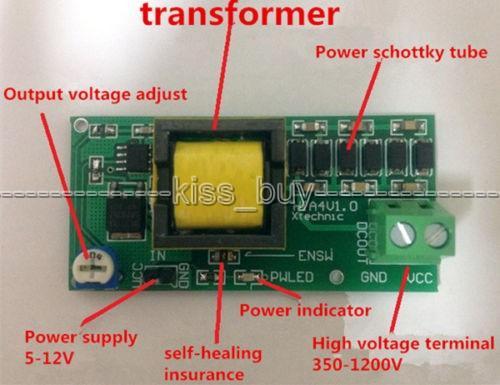 Freeshipping High Voltage DC-DC Boost Converter input 3V-5V Step up to  output 300v-1200v 400V 900V 1000V adjustable Power PSU Module
