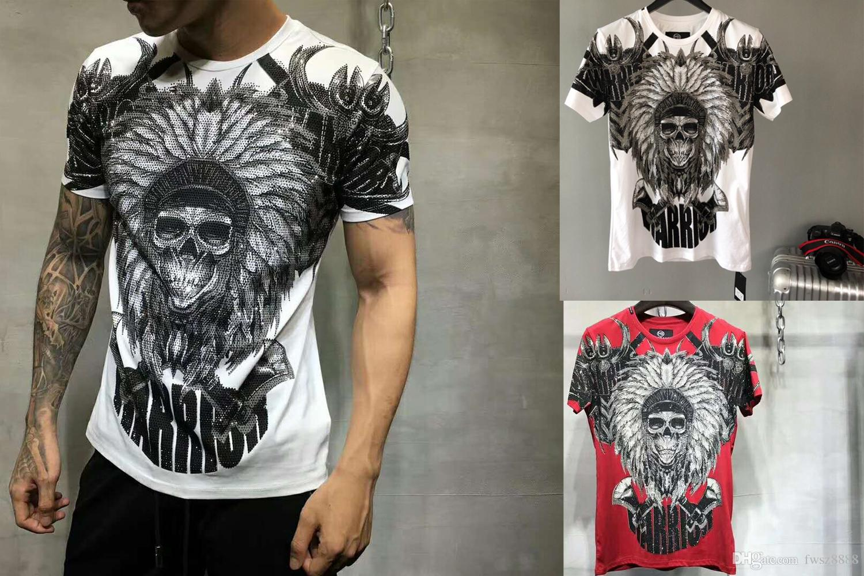 603cf21646a8 2018 Summer Mens Casual T Shirts Wings Skull Rhinestone Print Brand ...