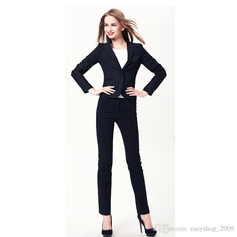 fe120e2a2f6 Women Evening Pant Suits New Plus Size Fall Winter Professional Business  Work Wear Office Women Suits Elegant Navy Pants Suit