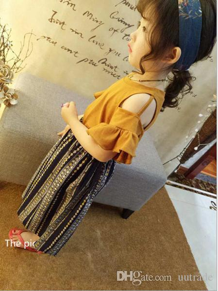 Summer Girls Clothing Set 2018 Fashion Off-Shoulder Flare Sleeve Base Shirt+Chiffon Wide Loose Leg Pants Suit Kids Clothes Set for Girls