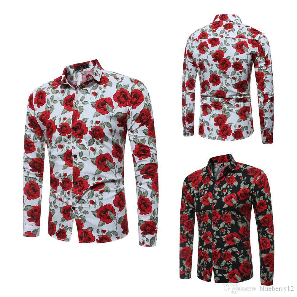 2018 New Mens Long Sleeve Shirts Floral Printed Large Size Slim Fit Shirts Rose Pattern Casual Single Breasted Shirt for Spring and Autumn