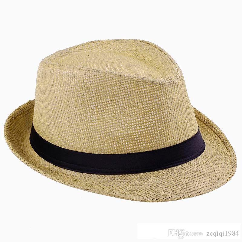 Envío gratis moda color liso Panamá sombreros de paja de Fedora suave Vogue hombres mujeres Stingy Brim Caps es elegir