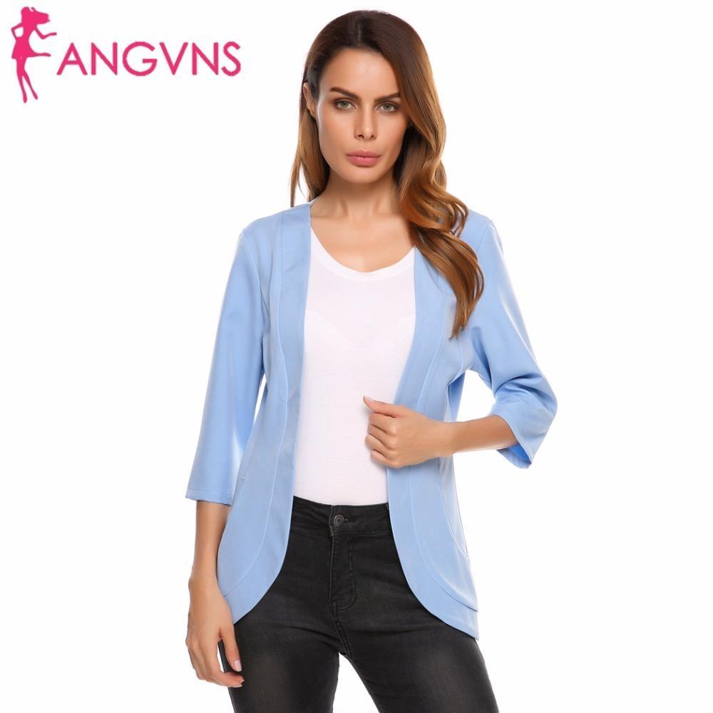 9384ad9475bd Acquista ANGVNS Blazer Da Donna Autunno Senza Maniche 3 4 Manica Giacca  Formale Aperto Anteriore Slim Casual Donna Suit Office Lady Blazer Feminino  Y1891701 ...