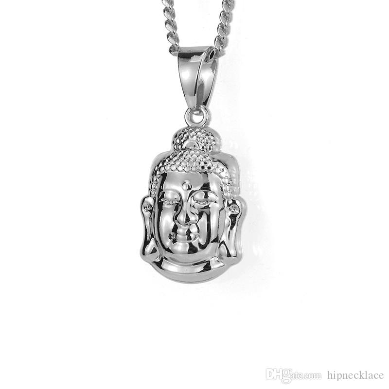 Wholesale fashion mens silver color small buddha necklace 60cm long wholesale fashion mens silver color small buddha necklace 60cm long chain rock micro hip hop men jewelry ice out pendant necklace for mens round pendant aloadofball Images