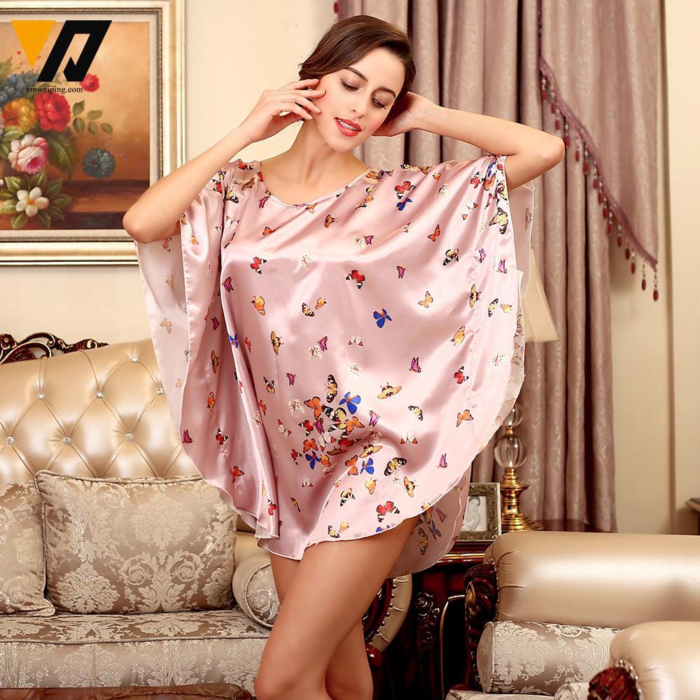 Women Summer Sexy Silk Nightgown Sleepshirts Short-sleeves Plus Size  Sleepwear Casual Satin Silky Nightwear Female Dress Lounge 84022c76f