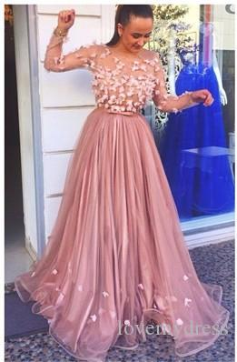 Fashion 3D Flowers Evening Prom Dress Illusion Long Sleeves Sheer Neck Organza Ruched Floor Length Red Carpet Celebrity Formal party Dresses