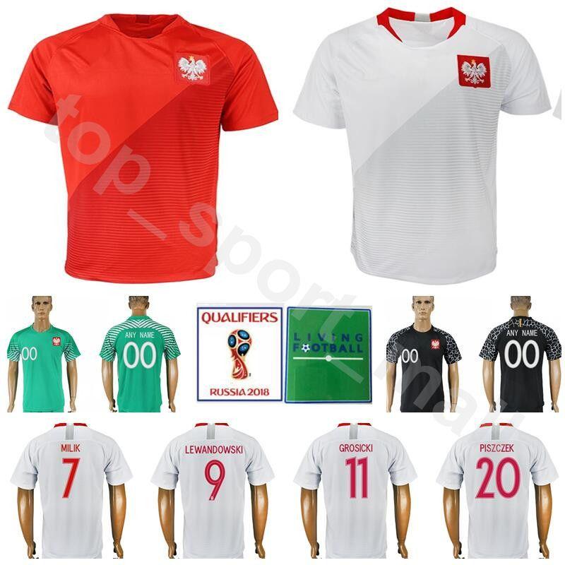 73ee2e25f ... ireland 2018 men poland jersey 2018 world cup soccer 9 lewandowski 7  milik 16 blaszcykowski football ...