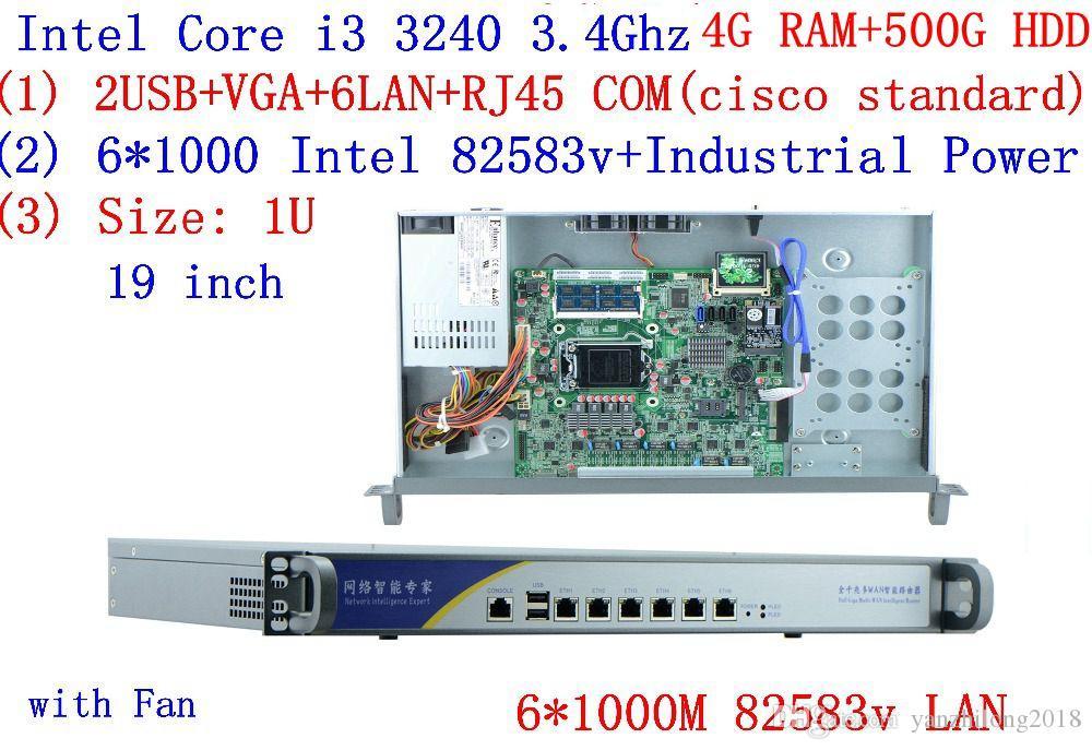 Broadband VPN Router 1U Firewall Server with 6*Gigabit lan Intel Core I3  3240 3 4G 4G RAM 500G HDD Mikrotik PFSense ROS etc
