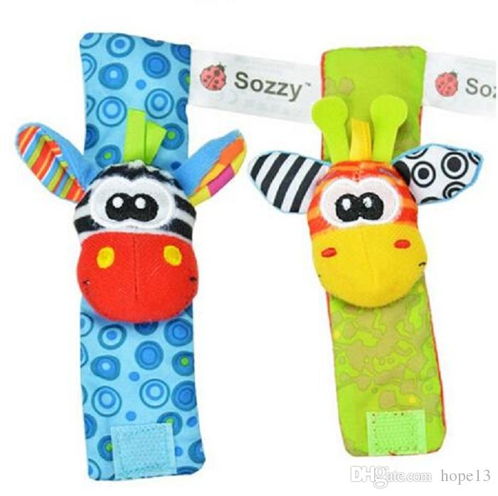 New Lamaze Style Sozzy Baby Toys Gift Plush Garden Bug Wrist Rattle 3 Styles Educational Toys cute bright color