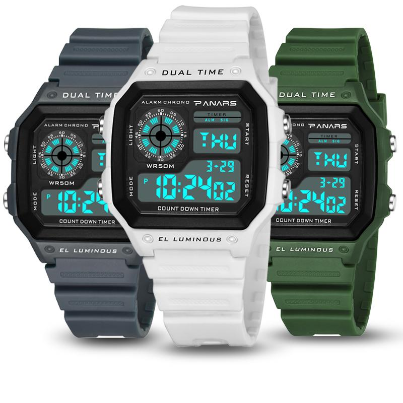 8f2a0ff6e6a5 Top Brand Digital Watch Men Light Luminous Electronic Sports Watches  Chronograph Alarm Led Square Dial Mens Watches Reloj Hombre Black Watches  Wholesale ...