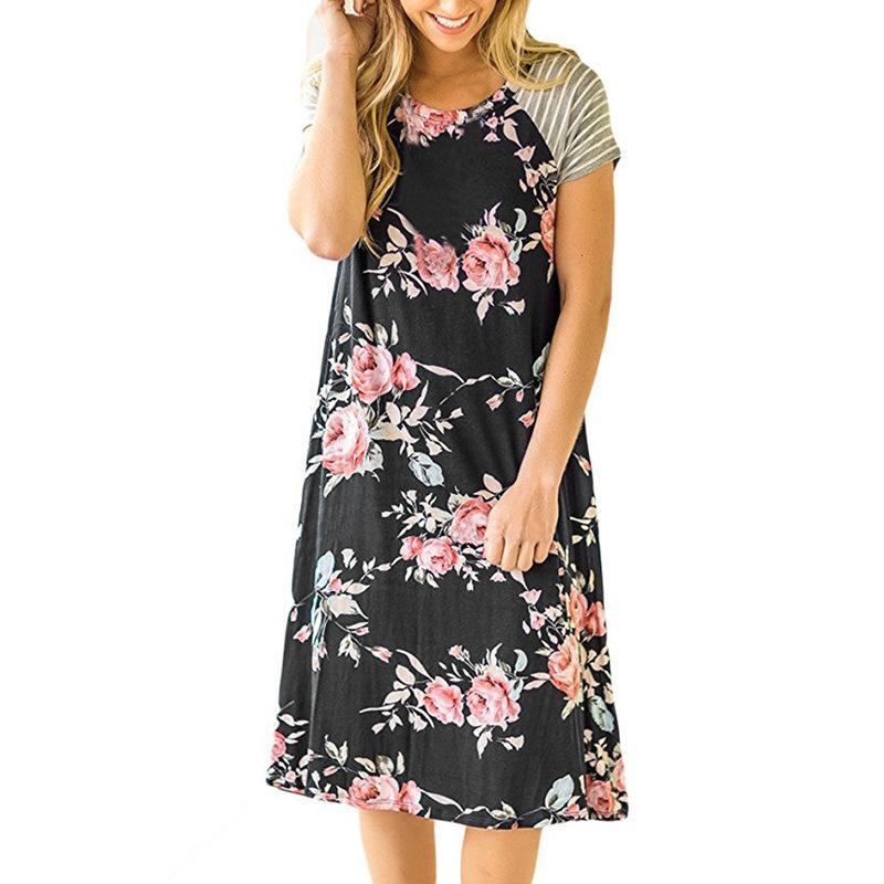 281fe83f01 Women Summer Floral Print Mini Dress Striped Party 2018 Short Sleeve Casual  Beach Loose Sundress Robe Sexy Cute GV767 Short Prom Dresses Semi Formal  Dresses ...