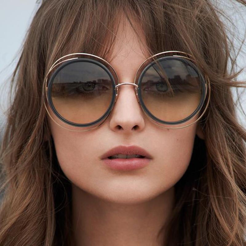 f47d6a06059ea Compre Carlina Oversized Rodada Óculos De Sol Das Mulheres Designer De  Marca Óculos De Sol Feminino Qualidade Senhoras Shades Espelho Lunette T829  De ...