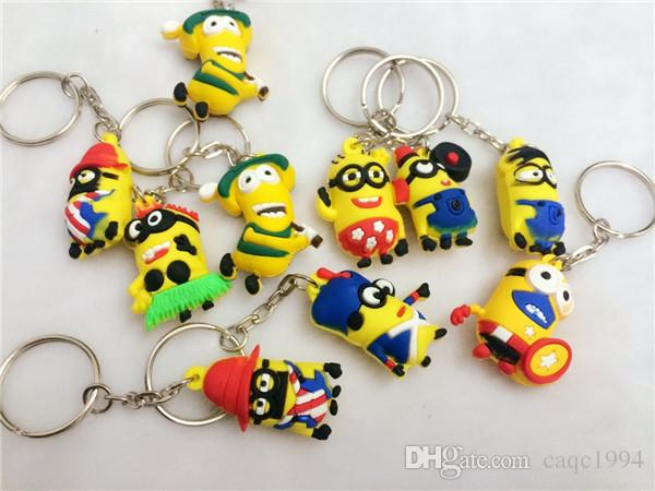 500pcs/lot Free DHL Hot Sale 3D Despicable Me Minion Action Figure Keychain small yellow man Keyring Key Ring Cute Mix order 18 styles