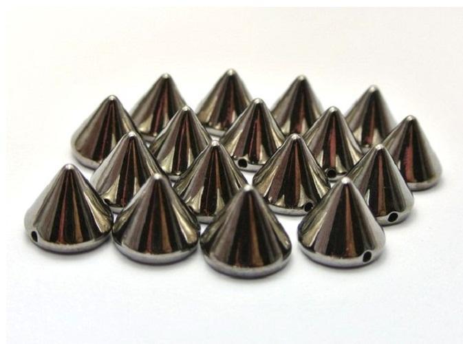 Silver/Gold/Back Pyramid Cone Metallic Rock Punk Spike Rivet Studs Taper Nailheads Beads