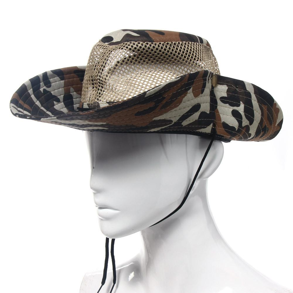 f7e6dbe306e 2019 Hot Sale Outdoor Camouflage Mesh Sunshade Breathable Fishing Bucket  Hat Cap Hiking