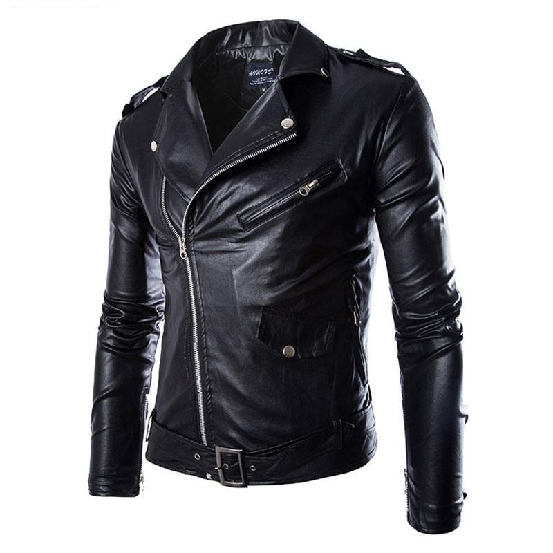 Men S Locomotive Leather Jackets Fashion Brand Coat Biker Jacket Men