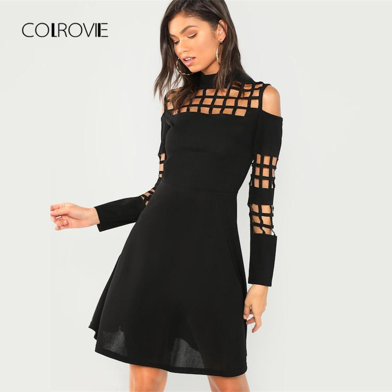 479efe97e12 2019 COLROVIE Black Solid Mock Neck Cut Out Sexy Dress Women 2018 Autumn  Casual Long Sleeve Party Dress Office Elegant Mini Dresses From Crutchline