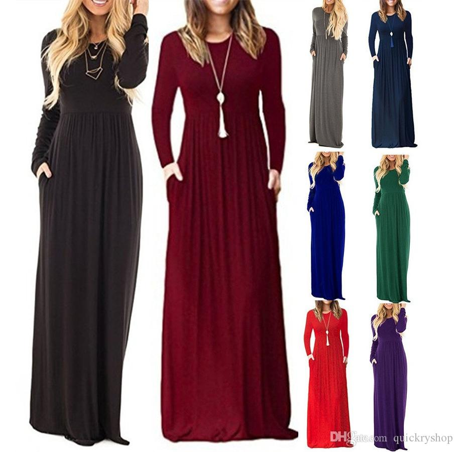dfc974e4f95 New Plus Size Women Long Sleeve Caual Solid Color O Neck Maxi Pockets Dress  Long Loose Beach Party Tunic Dress Long Summer Dresses Silk Dress From ...