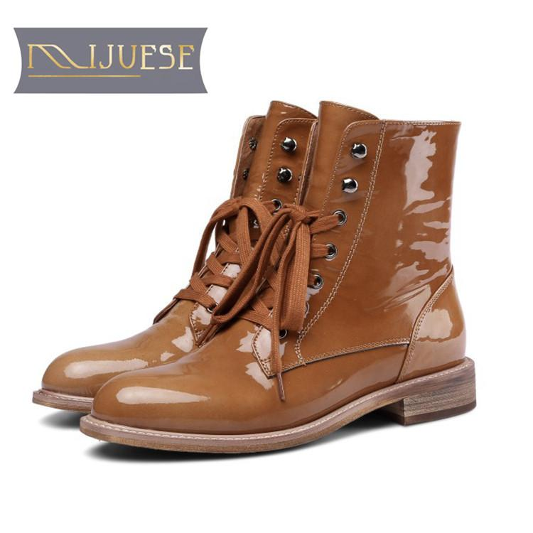 MLJUESE 2019 Women Ankle Boots Patent Leather Lace Up Camel Color Round Toe  Autumn Spring Low Heel Boots Women Martin Fur Boots Black Knee High Boots  From ... 9b0a93cc25