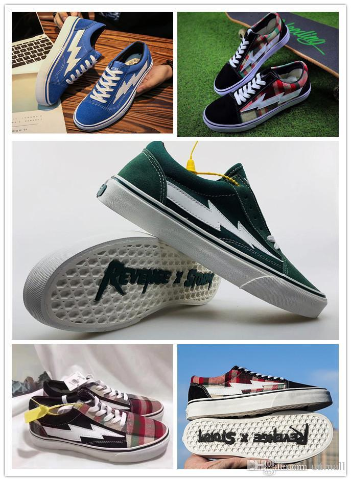 168e9eb53e6 2019 2018 Newest Top Revenge X Storm Old Skool Designer Cavnas Sneakers  Womens Men Low Cut Skateboard Red Blue White Black Casual Running Shoes  From Uumall