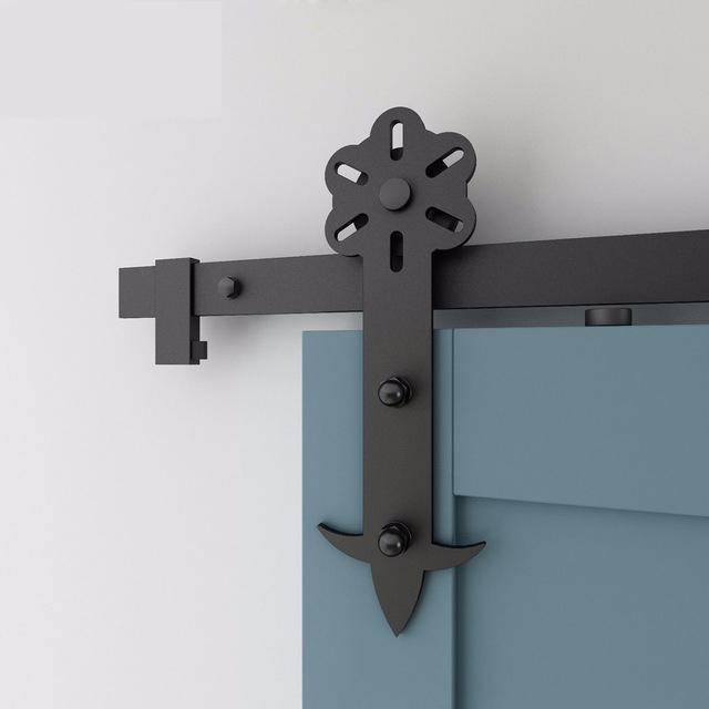 2019 New Design Black Iron Sliding Barn Door Hardware Rustic Sliding Door Hardware Design Style on