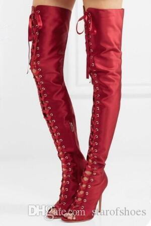 2018 New fasion Women Black Red Nude Silk Gladiator Cuts Out Stiletto Heel Over The Knee Boots Slim Thigh Boots Plus Size 42