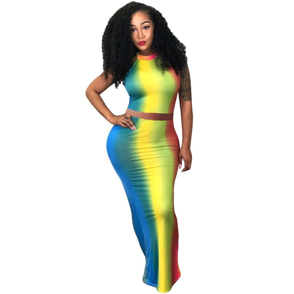 a832dd6f09a Tie Dye Print Two Piece Maxi Dress 2018 Women Off Shoulder Backless Summer  Dresses Sexy Club Party Long Bodycon Dress Robe Femme Ladies Dress Styles  Summer ...