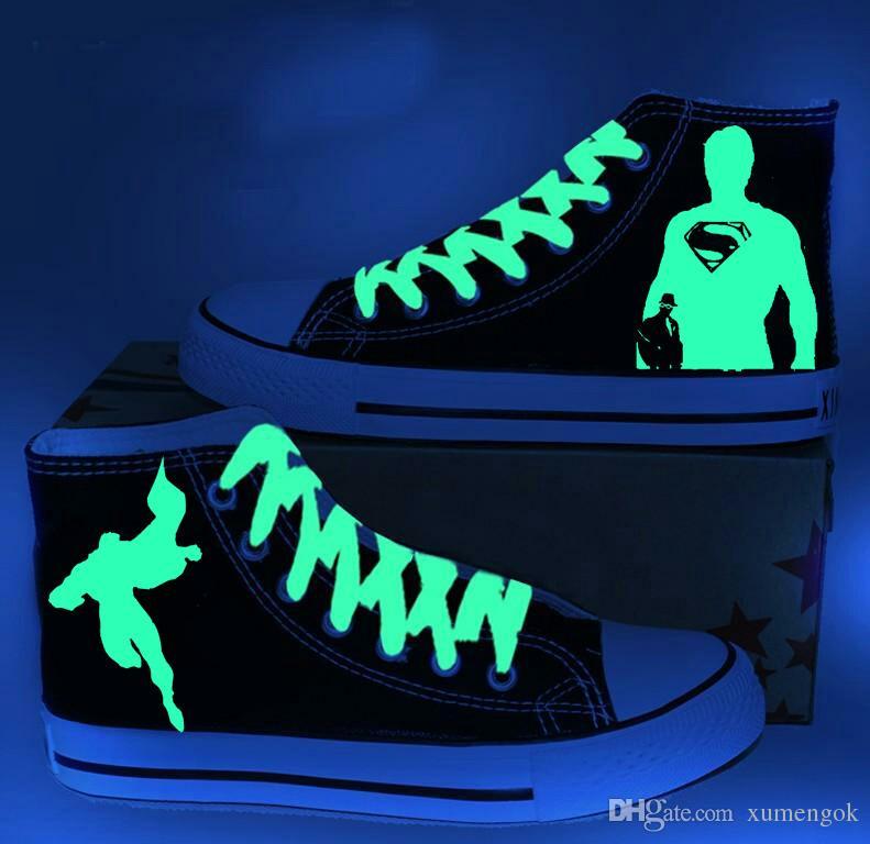 Großhandel Superman Figur Luminous High Top Canvas Schuhe Turnschuhe ...